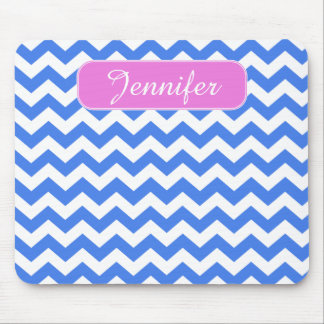 Blue Chevron Zigzag Pattern Mouse Pad