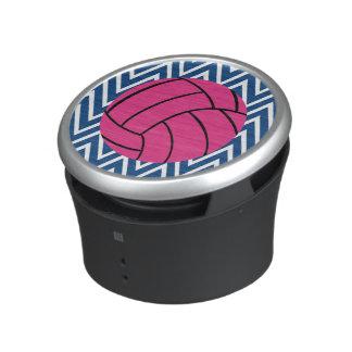 Blue Chevron Zigzag Pink Volleyball Speaker