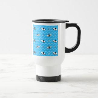 Blue Chevrons and Butterfly Pattern Mug