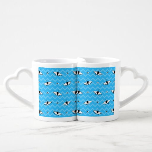 Blue Chevrons and Butterfly Pattern. Lovers Mug Set