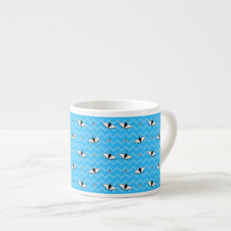 Blue Chevrons and Butterfly Pattern Espresso Mugs