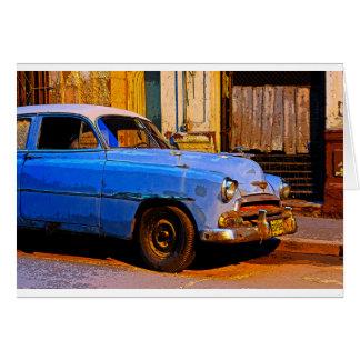Blue Chevy at Dawn, Havana, Cuba Card