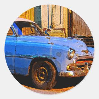 Blue Chevy at Dawn, Havana, Cuba Classic Round Sticker