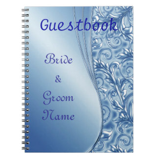 Blue Chic Wedding or Shower Guestbook Notebook