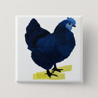 BLUE CHICKEN 15 CM SQUARE BADGE