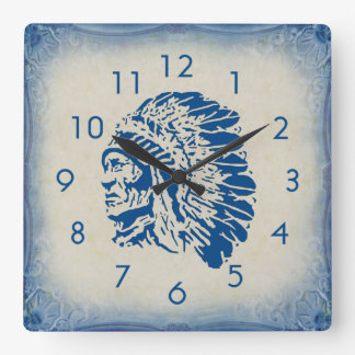 Blue Chief Silhouette Wall Clock