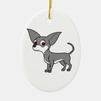 Blue Chihuahua with White Markings Ceramic Oval Decoration