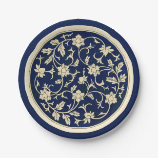 Blue China Floral Chinese Ornament Paper Plate