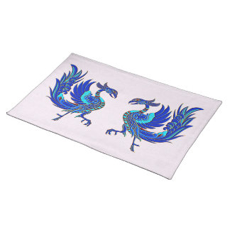 Blue chinese phoenix placemat