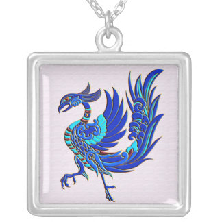 Blue chinese phoenix silver plated necklace