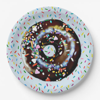 Blue Chocolate Donut with Sprinkles  Paper Plate