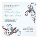 Blue & Chocolate Flower Swirls Damask Elegant Wedd 13 Cm X 13 Cm Square Invitation Card