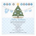 Blue Christmas Baby Shower Invitations