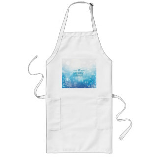 Blue Christmas background with snowflakes Long Apron
