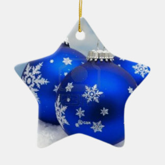 Blue Christmas Balls on Snow Christmas Ornament