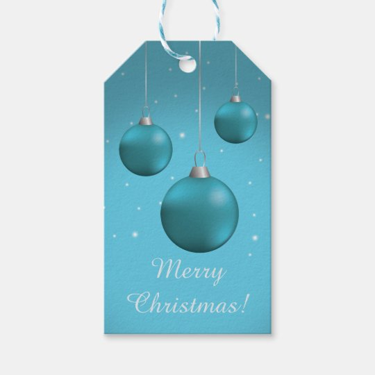 Blue Christmas Baubles Gift Tags