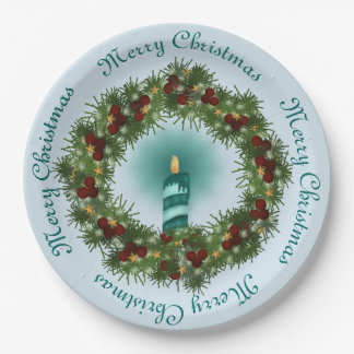 Blue Christmas Candle in Evergreen Wreath Paper Plate
