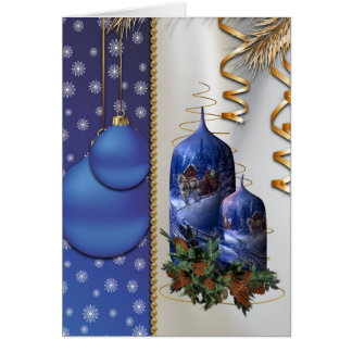 Blue Christmas Candles Greeting Card