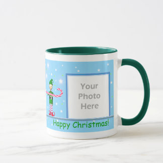 Blue Christmas Candy Cane Elf 2-Photo Frame Mug