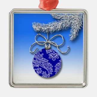 Blue Christmas Decoration Evergreen Tree Branch
