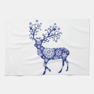 Blue Christmas deer Tea Towel