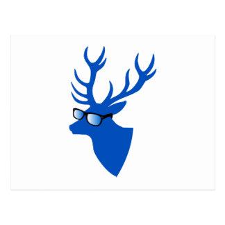 Blue Christmas deer with nerd glasses Postcard