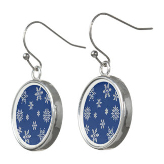 Blue Christmas Earrings with Silver Snowflakes