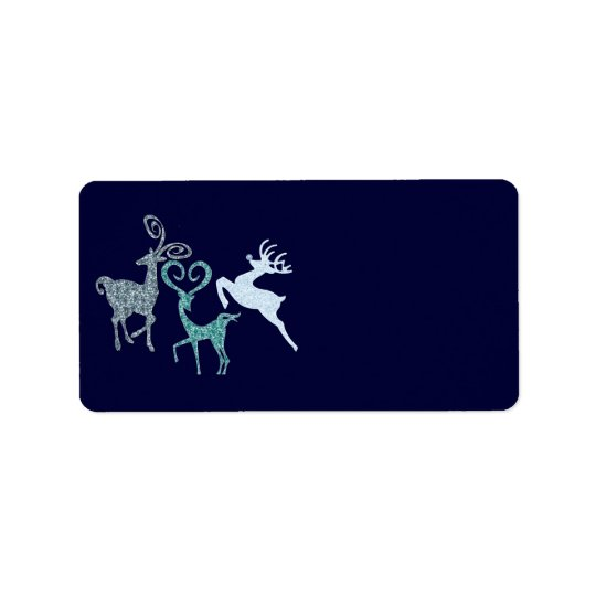 Blue Christmas Elegant Customisable Gifts Address Label