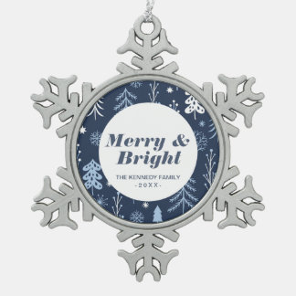 Blue Christmas Forest Snowflake Pewter Christmas Ornament
