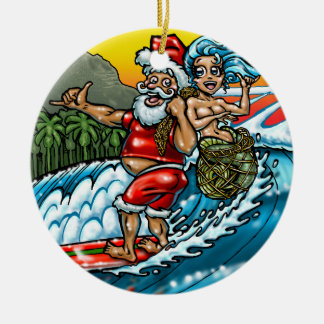 Blue Christmas Hawaiian Surfing Santa Illustration Christmas Ornament