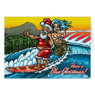 Blue Christmas Hawaiian Surfing Santa Illustration Greeting Card