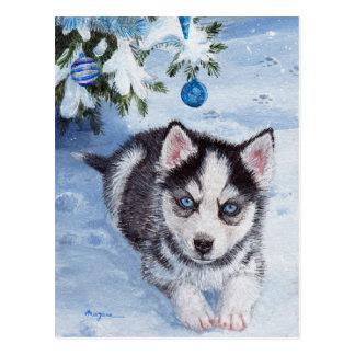 Blue Christmas husky dog pup Xmas postcard