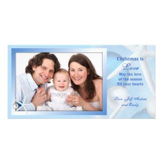 Blue Christmas is Love Starfish Photo Card