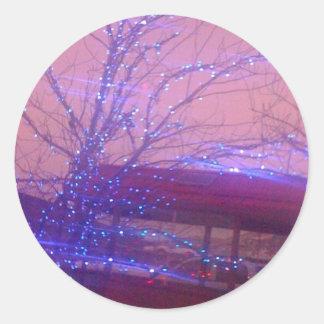 Blue Christmas lights Round Sticker