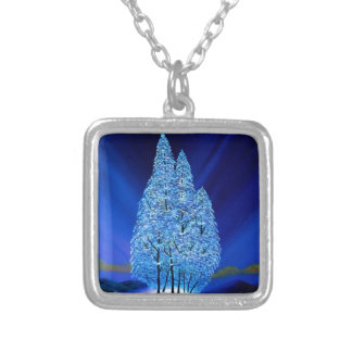 Blue Christmas Northern Lights Spruce Silver Plated Necklace