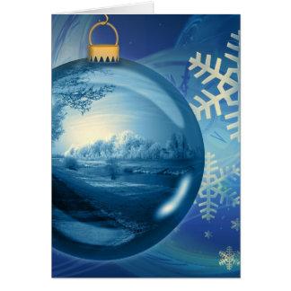 Blue Christmas Ornament Greeting Card