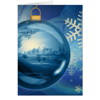 Blue Christmas Ornament Greeting Cards