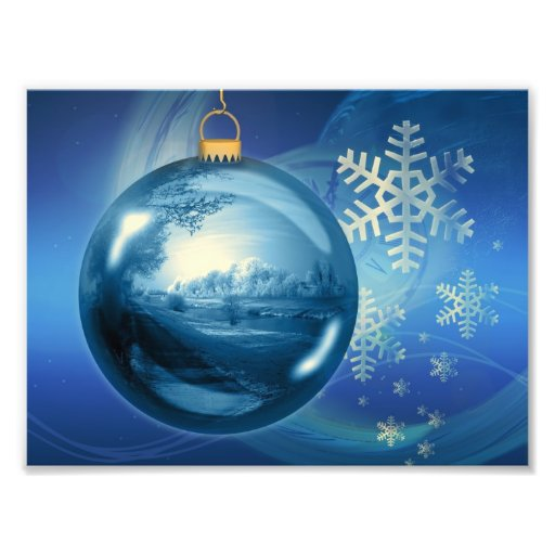 Blue Christmas Ornament Photo