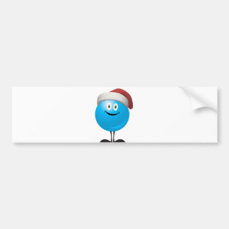Blue christmas ornament wearing a red santa hat bumper stickers