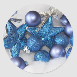 blue christmas ornaments classic round sticker
