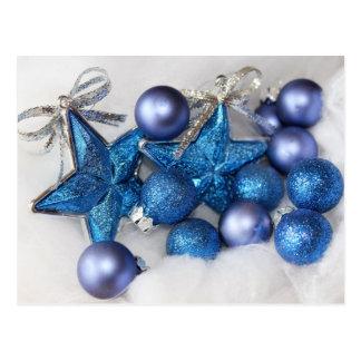 blue christmas ornaments postcard
