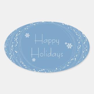 blue Christmas Oval Sticker