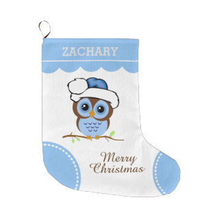 Blue Christmas Owl Large Christmas Stocking