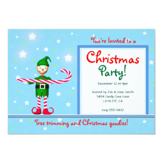 Blue Christmas Party Candy Cane Elf Card