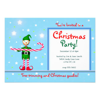 Blue Christmas Party Candy Cane Elf Invitation