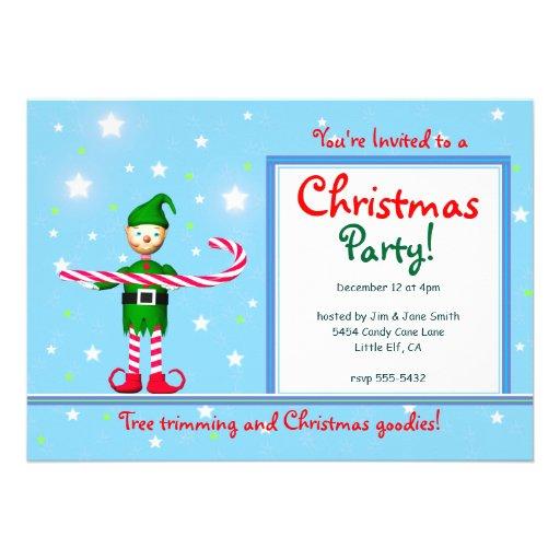 Blue Christmas Party Candy Cane Elf Custom Invite