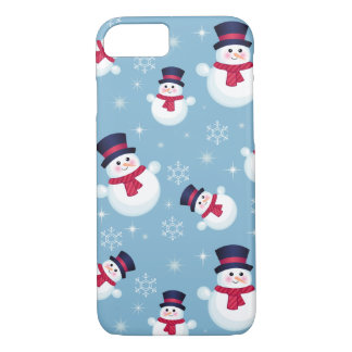 Blue Christmas Pattern With Snowmen And Snowflakes iPhone 8/7 Case