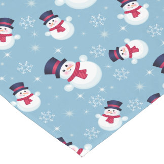 Blue Christmas Pattern With Snowmen And Snowflakes Short Table Runner