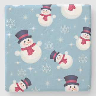 Blue Christmas Pattern With Snowmen And Snowflakes Stone Coaster