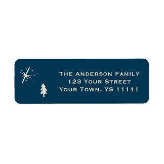 Blue Christmas Pine and Star Return Address